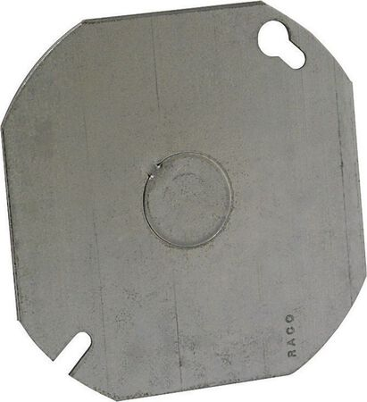 Raco Octagon Steel Flat Box Cover For Use to Close an Outlet Box or Mount a Device Gray