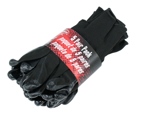 Black Nitrile Palm Gloves, 5 Pair Pack