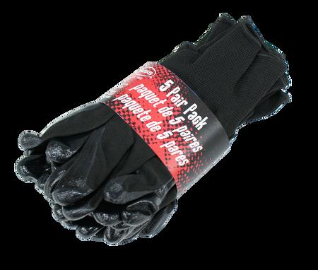 Black Nitrile Palm Gloves, 5 Pair Pack