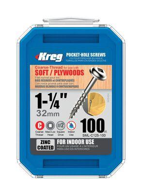 Kreg Washer Pocket-Hole Screw No. 1 x 1-1/4 in. L Zinc Steel 100 pk