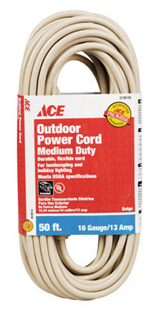 Ace Outdoor Extension Cord 16/3 SJTW 50 ft. L Beige