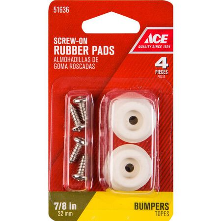 Ace Rubber Round Bumper Pads Off-White 7/8 in. W 4 pk