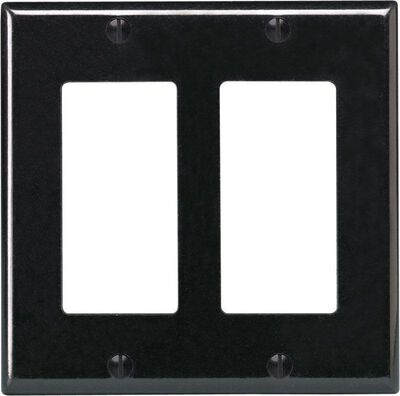 Leviton 2 gang Black Thermoset Plastic Rocker/GFCI Wall Plate 1 pk