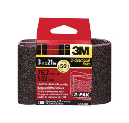 3M Sanding Belt 3 in. W x 21 in. L 50 Grit Coarse 2 pk