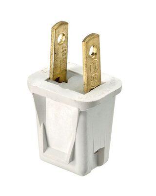 Leviton Residential Thermoplastic Non-Polarized Non-Polarized Plug 1-15P 2 Pole 2 Wire White