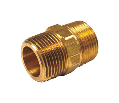 Ace 3/8 in. Dia. x 1/4 in. Dia. MPT To MPT To Compression Yellow Brass Hex Pipe Nipple