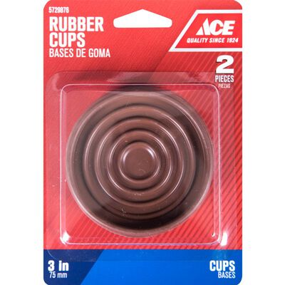 Ace Rubber Round Caster Cup Brown 3 in. W x 3 in. L 2 pk