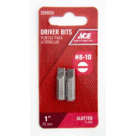 Ace #8-10 Slotted Screwdriver Bit 1/4 in. Dia. x 1 in. L 2 pc.