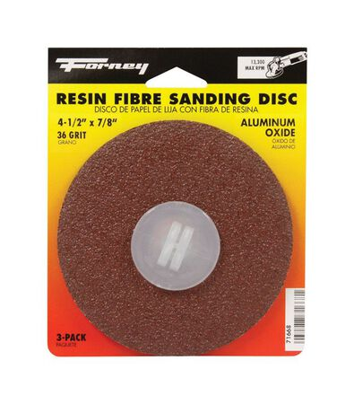 Forney 4-1/2 in. Dia. Sanding Disc 36 Grit Adhesive 3 pk
