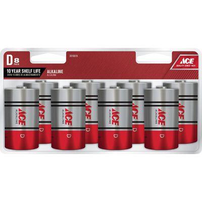 Ace D Alkaline Batteries 1.5 volts 8 pk