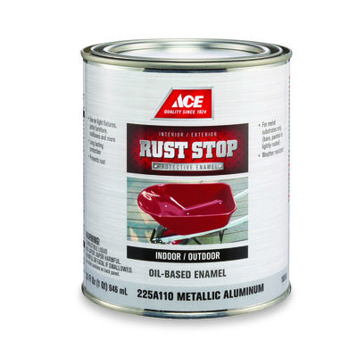 Ace Interior/Exterior Rust Stop Oil-based Enamel Paint Metallic Gloss 1 qt.
