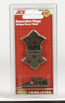 Ace 1-5/16 in. W x 2-1/4 in. L Decorative Hinge Antique Brass 2 pk
