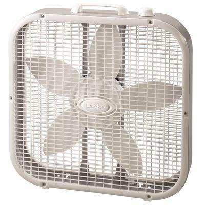 Lasko Box Fan 21-3/4 in. H x 20-1/2 in. L x 4-3/8 in. W 3 speed AC 5 blade White