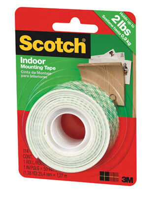 Scotch 1 in. W x 50 in. L Mounting Tape White