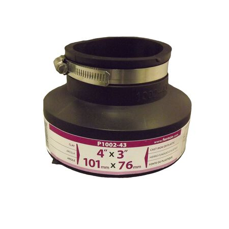 Fernco Schedule 40 4 in. Clay x 3 in. Dia. Clay Flexible PVC Coupling