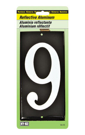 Hy-Ko Nail On White Reflective Aluminum Number 9 3-1/2 in.