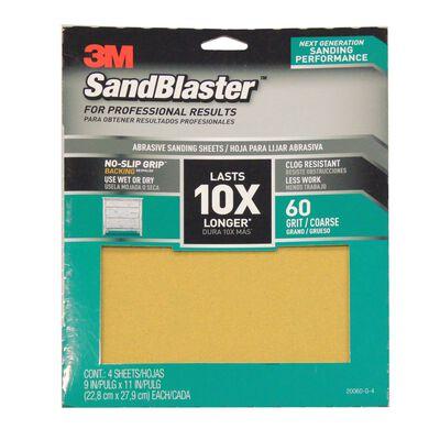 3M SandBlaster Sharp Synthetic Mineral Sandpaper 11 in. L x 9 in. W 60 Grit Coarse 4 pk