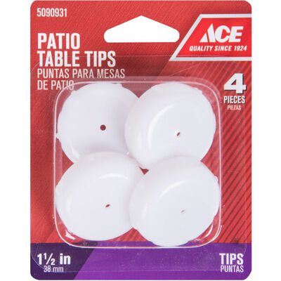 Ace Plastic Round Patio Furniture Tip Round Insert Cup White 1-1/2 in. W 4 pk