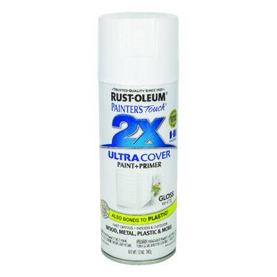 Rust-Oleum Painter's Touch Ultra Cover White Gloss 2x Paint+Primer Enamel Spray 12 oz.
