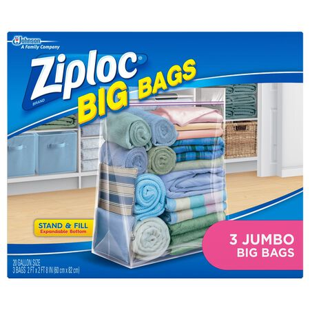 Ziploc Big Bags Storage Bag 20 gal. Clear 2.7 ft. D