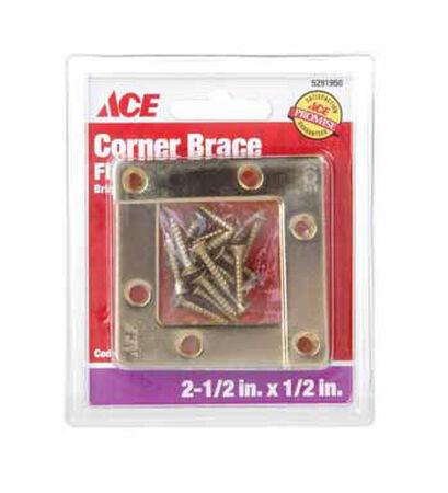 Ace Flat Corner Brace 2-1/2 in. x 1/2 in. Brass