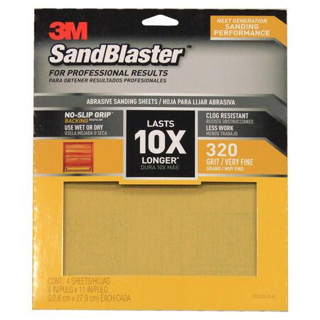 3M SandBlaster 11 in. L x 9 in. W 320 Grit Ceramic Sandpaper 4 pk