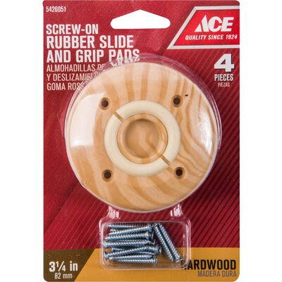 Ace Rubber Round Slide and Grip Dual Function Pad Brown 3-1/4 in. W 4 pk