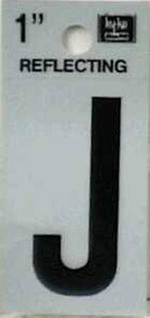 Hy-Ko Self-Adhesive Black Reflective Vinyl Letter J 1 in.