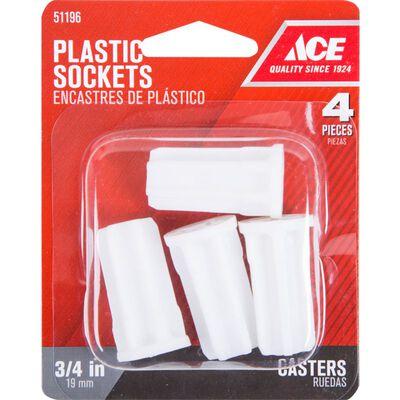 Ace Plastic 3/4 in. Dia. White Caster Socket 4 pk