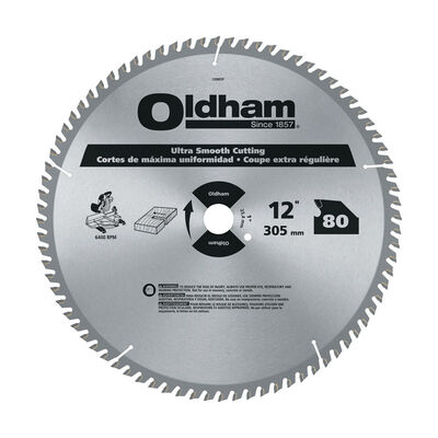 Oldham 12 in. Dia. 80 teeth Carbide Tip Steel Circular Saw Blade For Trim and Other Finish Work