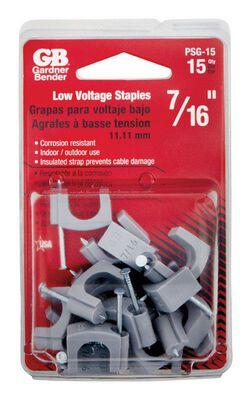 GB 7/16 in. W Zinc-plated Plastic Insulated Plastic Staple 15