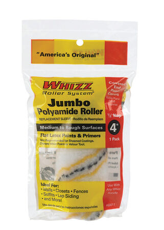 Whizz Polyamide Fabric Paint Roller Cover 1/2 in. L x 4 in. W