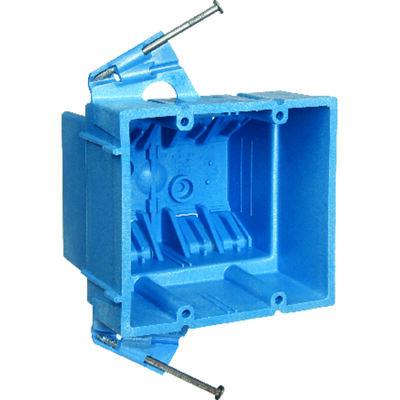 Carlon 3-1/2 in. H Rectangle 2 Gang Outlet Box Blue PVC