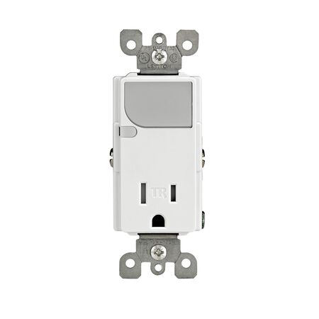 Leviton Decora Combination Receptacle/Guide Light 15 amps 5-15R 125 volts White
