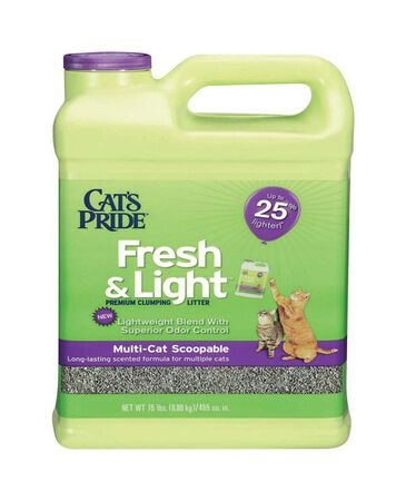 Cat's Pride Fresh & Light Multi-Cat Scoopable Cat Litter Fresh and Clean Scent Scent 15 lb.