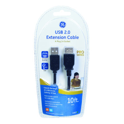 GE 10 ft. L Black USB Extension Cable