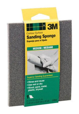 3M Contour Sanding Sponge 4-1/2 in. W x 5-1/2 in. L Medium 80 Grit