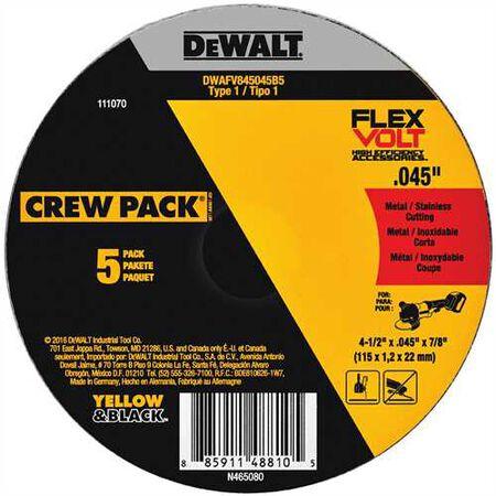 """4-1/2"""" x .045"""" x 7/8"""" T1 5PK Flexvolt Cutting Wheel"""