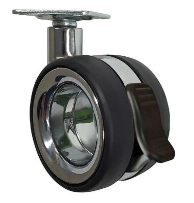 Shepherd Hardware Polyurethane 3 in. Dia. Swivel Brakes Included Caster Chrome 121 lb.