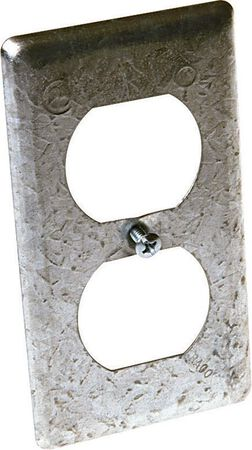 Raco Rectangle Steel 1 gang Electrical Cover For 1 Duplex Receptacle Gray