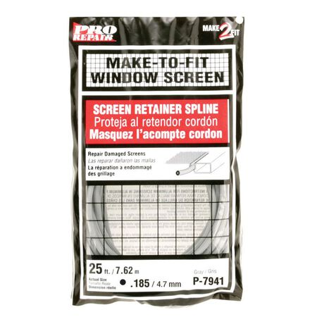 Prime-Line Aluminum and Fiberglass Screening Screen Spline 3/16 in. W x 25 in. L Gray Vinyl