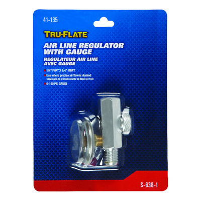Tru-Flate Steel Air Line Regulator with Gauge 1/4 in. FNPT x 1/4 in. MNPT in. Female/Male