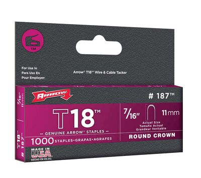 Arrow T18 Round Crown Staples Gray 7/16 in. L