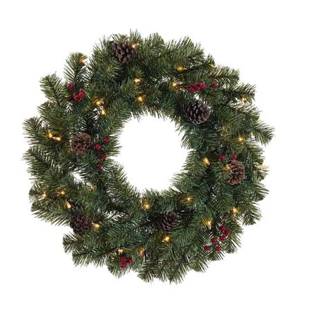Celebrations 24 in. Dia. Incandescent Prelit Decorated Christmas Wreah