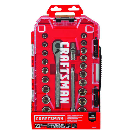 Craftsman 3/8 in. drive Metric and SAE 6 Point Socket and Ratchet Set 22 pc.