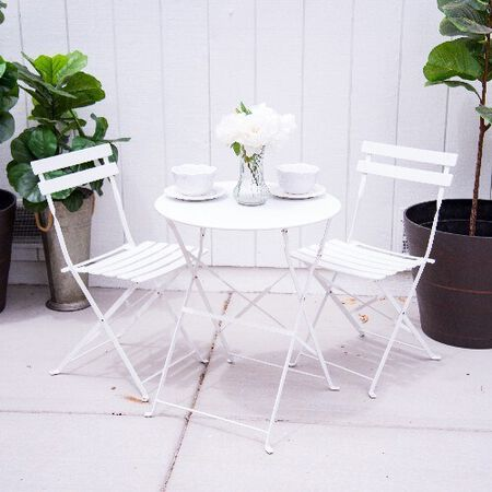 3pc Metal Folding Bistro Set with 2 Folding Chairs & Table