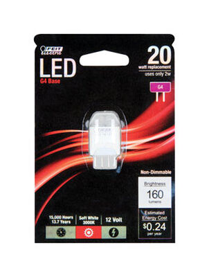 FEIT Electric LED Bulb 2 watts 160 lumens 3000 K Specialty G4 Soft White 20 watts equivalency