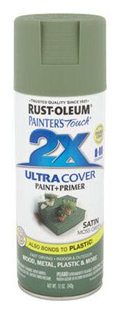 Rust-Oleum Painter's Touch Ultra Cover Moss Green Satin 2x Paint+Primer Enamel Spray 12 oz.