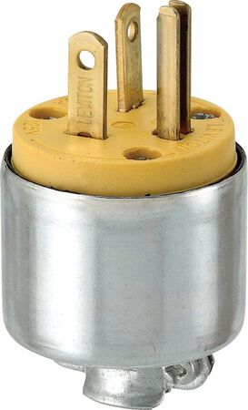 Leviton Commercial Armored Grounding Straight Blade Plug 5-20P 18-12 AWG 2 Pole 3 Wire Yello