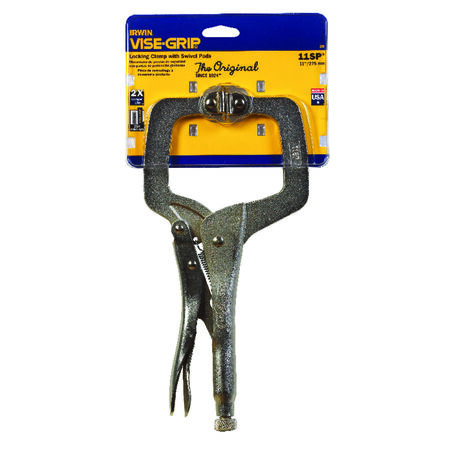 Irwin Alloy Steel Locking C-Clamp with Swivel Pads 3-3/8 in. x 2-5/8 in. D